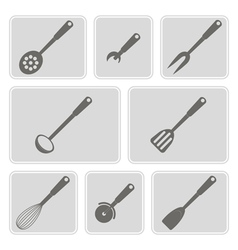 icons with kitchen tools vector image