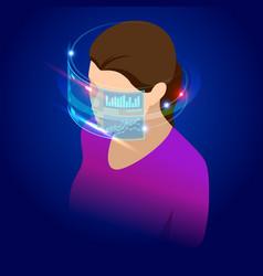 isometric woman wearing goggle headset vector image