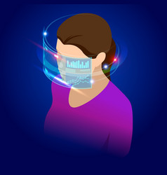 isometric woman wearing goggle headset with vector image