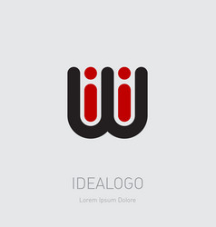 iwi - design element or icon initial monogram vector image