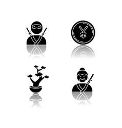 japan drop shadow black glyph icons set ninja vector image