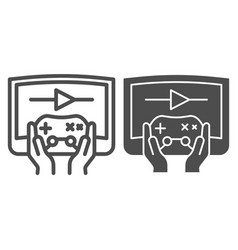 Joystick in hands line and glyph icon joypad in vector