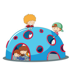 Kids playig at playground dome climber vector