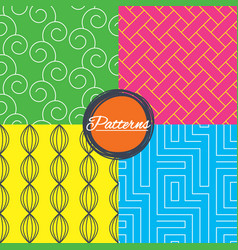 labyrinth braid and floral seamless textures vector image