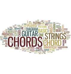 Learn guitar chords text background word cloud vector