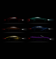 lightened cars darkness realistic set vector image