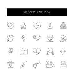 line icons set wedding pack vector image