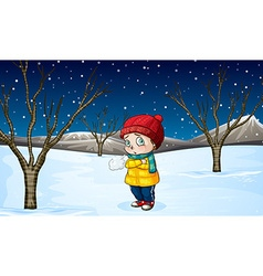 Little girl standing out in the snow vector image