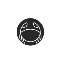 Logo crab round shape crustacean silhouette in vector