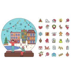 merry christmas glass snowball and set icons vector image