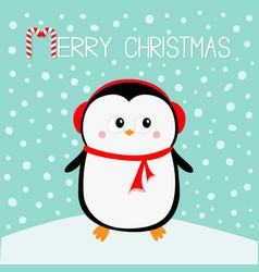 merry christmas penguin on snowdrift red vector image
