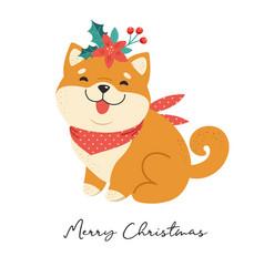 merry christmas with shiba inu vector image