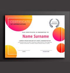 Modern colorful certificate template design vector