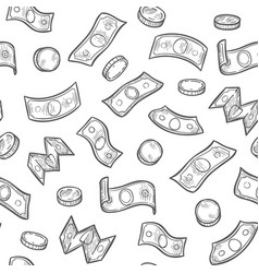 money rain seamless pattern sketch dollar vector image