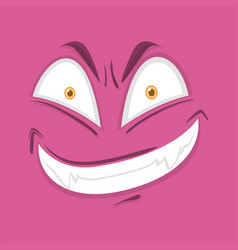 Monster face on pink background vector