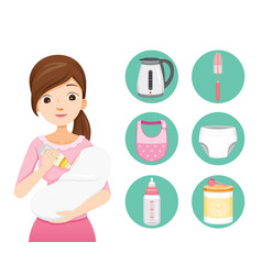 Mother feeding baby with baby bottle vector