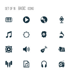 Music icons set with earphone tuner earmuff and vector