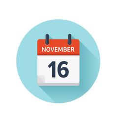 november 16 flat daily calendar icon date vector image