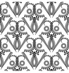 ornamental black and white floral seamless vector image