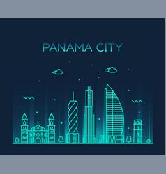 Panama city skyline panama linear style vector