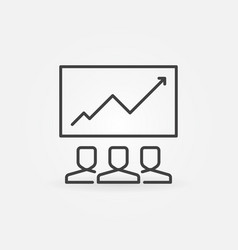 people and graph icon in outline style vector image