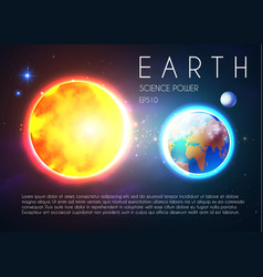 Planet earth and shining sun in space with stars vector