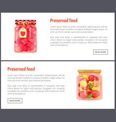 preserved fruit and vegetables set icons vector image