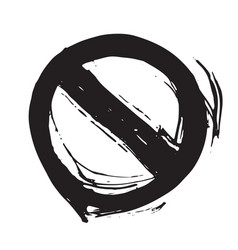 round not allowed sign grunge textured hand drawn vector image