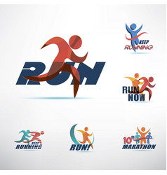 Running people logo template stylized symbols vector