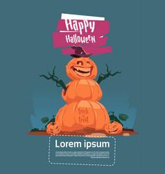 Scarecrow jack lantern happy halloween banner vector
