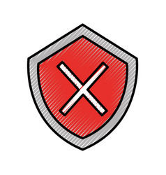 Security shield with x symbol vector