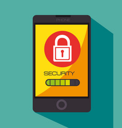 Security with smartphone device isolated icon vector