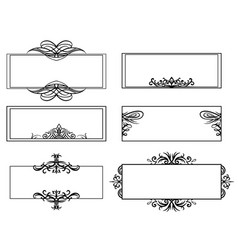 set of calligraphic black and white frames the vector image