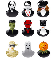 Set of halloween avatars vector