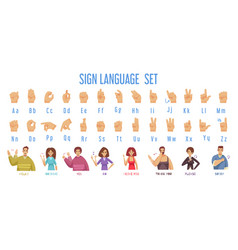 Sign language set vector