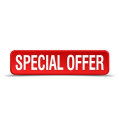 Special offer red 3d square button isolated on vector image