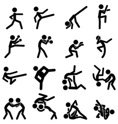 Sport Pictogram Icon Set 03 Martial Arts vector image