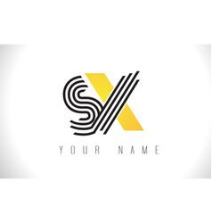 sx black lines letter logo creative line letters vector image