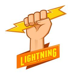 symbol of hand grasping lightning vector image