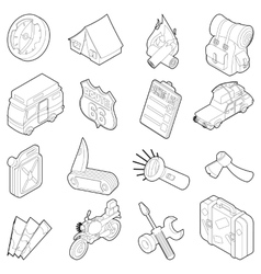 Travel icons set isometric outline style vector image