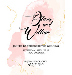 trendy wedding watercolor blushes chic vector image