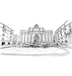 Trevi fountain rome italy hand drawn sketch vector