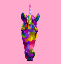 unicorn front faces on pop art vector image