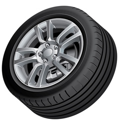 Vehicular wheel isolated vector image