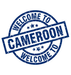 Welcome to cameroon blue stamp vector