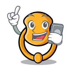 With phone door knocker isolated on character vector