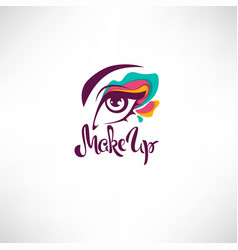 Woman eye with bright makeup and lettering vector