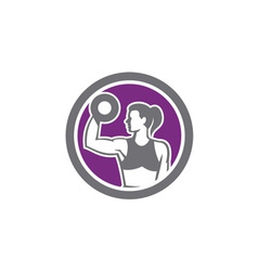 Woman Lifting Dumbbell Weight Retro vector image