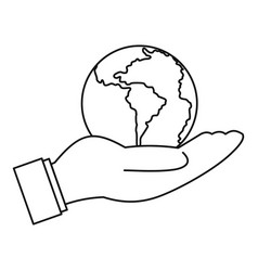 World planet in man hand icon outline style vector