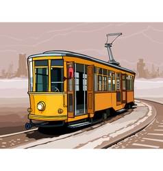 Yellow tram rides on rails a winter city vector